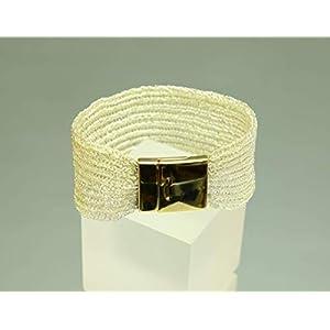 champagnerfarbenes Armband – patentgehäkelt – mit Magnetverschluss