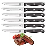 6 Piece Steak Knife Set - Six Traditional Steak Knives. Sleek Triple Rivet