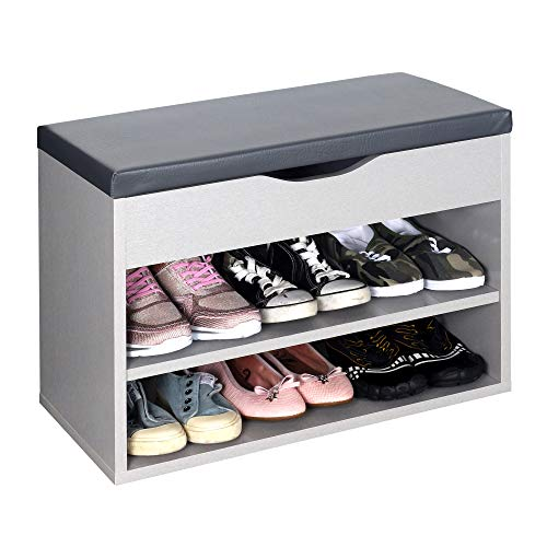 RICOO WM032-PL-A Banco Zapatero 60x42x30cm Armario Interior con Asiento Organizador Zapatos Mueble recibidor Perchero Madera Gris Platino
