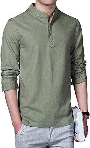 NINALUNA Camisa de manga larga con cuello alto para hombre, Ejercito Verde, XL