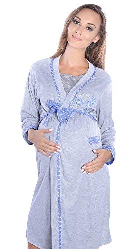 Mija - 2 in1 Hübsches Stillnachthemd & Umstandsnachthemd Nachthemd 2061 (XXL / EU44, Morgenmantel/Blau)