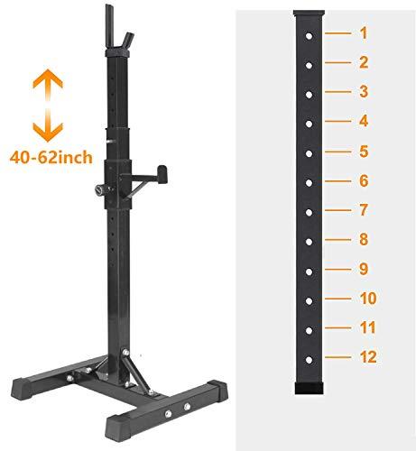 Alderman Pair of Adjustable Squat Rack Standard 40-63 Inch Solid Steel Squat Stands Barbell Free-Press Bench Home Gym Portable Dumbbell Racks Stands Max Load 550LB