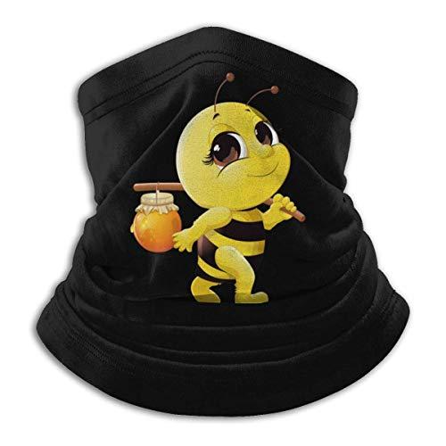 QDAS mannen vrouwen cartoon honing bijenhals Gamas verwarmer anti-stof gezicht sjaal voor Head Wrap Black