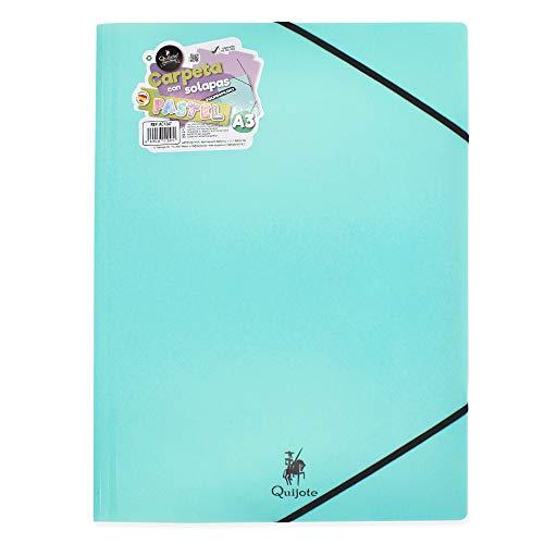 CARPETA PLÁSTICO CON GOMAS QUIJOTE PAPER WORLD - Portafolios de plástico resistente, para guardar apuntes o documentos. Uso escolar o de oficina - A3 Azul