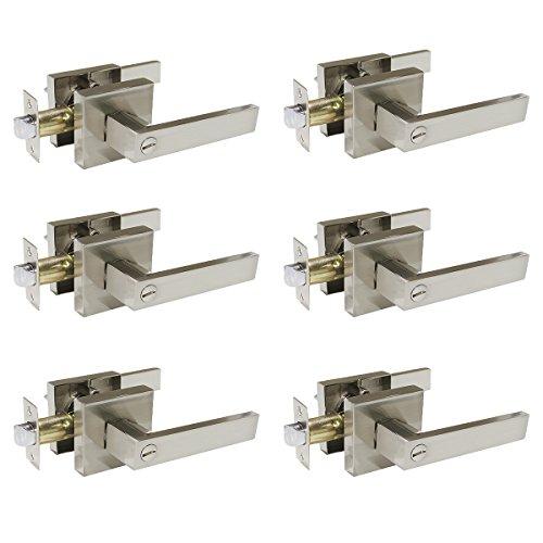 Probrico Satin Nickel Square Privacy Door Levers Lockset for Bedroom or Bathroom, Keyless Door Locks, 6 Pack