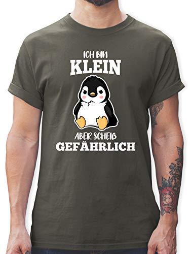 Sprüche - Ich Bin klein Aber scheiß gefährlich Pinguin weiß - XL - Dunkelgrau - was ist blau t Shirt - L190 - Tshirt Herren und Männer T-Shirts