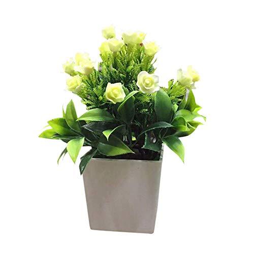 Planta plástica ambiental delicada Flor artificial en maceta con maceta de flores falsas Bonsai, mini plantas en maceta faux para bodas de la casa de la bandeja de la oficina de la bandeja de la casa