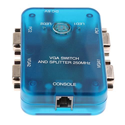 prasku Caja de Conmutador VGA de 2 Entradas Y 2 Salidas Compatible con 1920 X 1440 para Monitores Host de PC