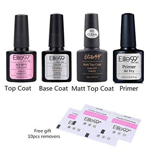 Elite99 Base e Top Coat Semipermanente con Primer e Top Coat Opaco per Smalti Semipermanenti in Gel UV LED