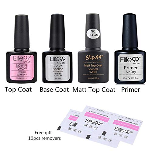 Elite99 Esmaltes Semipermanentes de Uñas en Gel UV LED, 6pcs Kit de Esmaltes de Uñas 10ml (Base y top coat 4pcs kit)