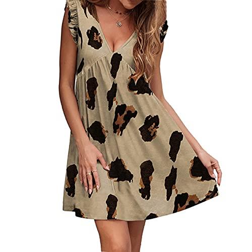 Vestido Estampado Casual De Manga Corta con Cuello En V Y Estampado De Leopardo De Verano para Mujer
