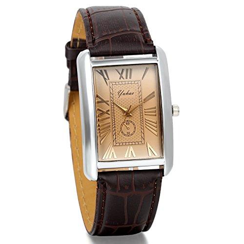 JewelryWe Herren Damen Armbanduhr,Retro Leder Analog Quarz Uhr mit römischen ziffern Zifferblatt, Lieben partneruhren, Braun