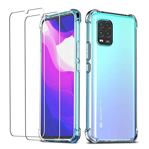 QHOHQ Funda para Xiaomi Mi 10 Lite 5G (No es para Mi Note 10 Lite) con 2 Unidades Protector de Pantalla,Carcasa Anti-Choques y Anti- Arañazos - Cristal Templado Membrana - [9H Dureza] -[Anti-Arañazos]