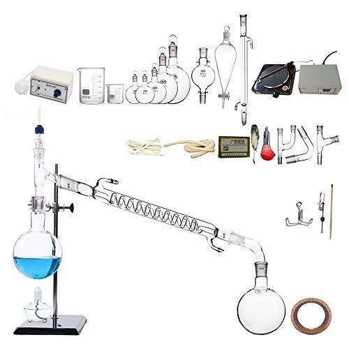 Labor Destillationsanlage Hochtemperaturbeständigkeit Glaswaren Industriewissenschaft Distiller Temperaturkontrolle Elektroofen Miniatur Peristaltikpumpe 12V Magnetmischer Reinigung Von Ätherischen Öl