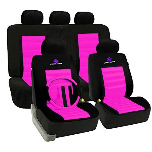 eSituro SCSC0057 Auto Schonbezug, 12 teillige Sitzbezüge mit Lenkradbezug und Gurtpolster für Auto, universal, schwarz-rosa