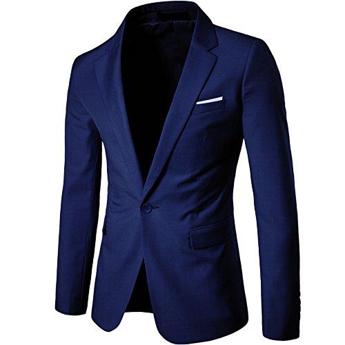 LEOCLOTHO Anzug für Männer Regular Fit Business EIN Knopf Herrenanzug Smoking Jacke Suit Blazer Navy Blau L