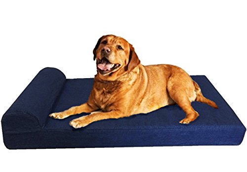 Dogbed4less Premium Extra Large Head Rest Orthopedic Cooling Memory Foam Dog Bed