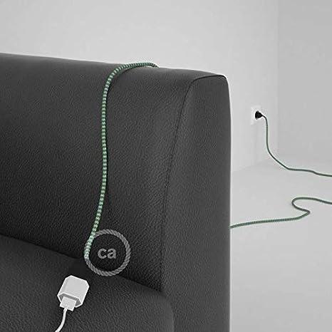 creative cables Alargador el/éctrico con Cable Textil RZ06 Efecto Seda Zigzag Blanco Verde 2P 10A Made in Italy Blanco 5 Metros