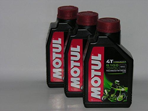 3 LITRI OLIO motore moto 4t MOTUL 5100 15W50 Technosynthese