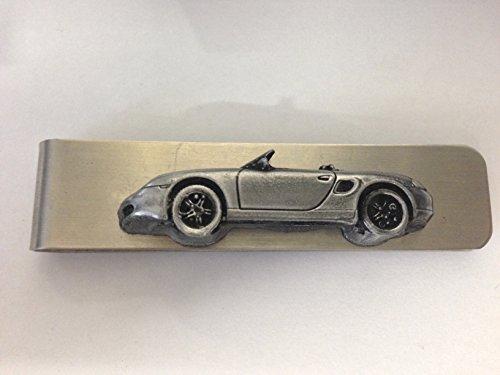 Acciaio inossidabile fermasoldi con una Porsche Boxster 3D effetto peltro emblema REF192