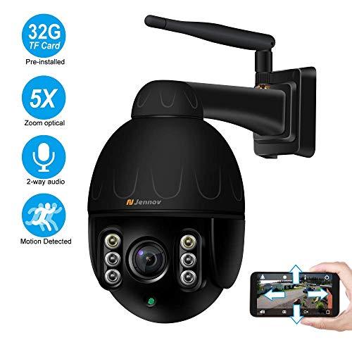 HD 1080P Dome Überwachungskamera Aussen WLAN, Jennov 360° PTZ IP Kamera Kabellos mit 32G SD Karten 5X Optischer Zoom Zwei-Wege Audio Fernzugriff Erkennungsalarm IP66 Wasserdicht Fernzugriff