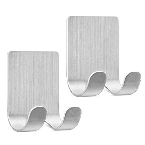 kwmobile 2x selbstklebende Halterung für Rasierer - für versch. Oberflächen - Nassrasierer Halter Set - Wand Haken Silber