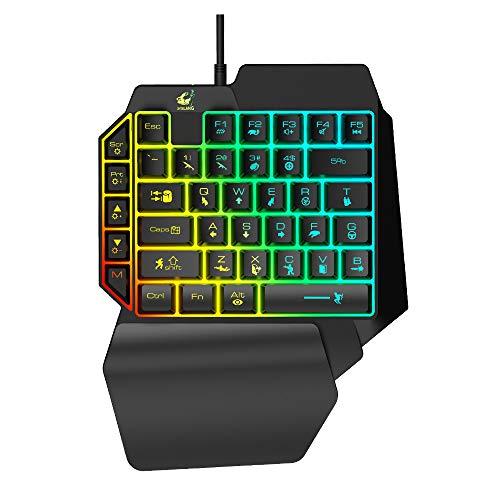 Iriisy teclados gaming inalambricos, Teclado LED para Juegos, Teclados Ergonómicos de Una Mano, K50 RGB Retroiluminado con Reposamuñecas, Cable USB, 35 Teclas para PC/Netbook/Gamer