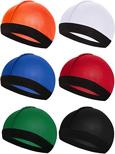 Syhood 6 Pieces Elastic Band Silky Wave Caps for Men Soft Breathable Material for 360 540 and 720 Waves (Orange, Red, Blue, White, Green, Black)