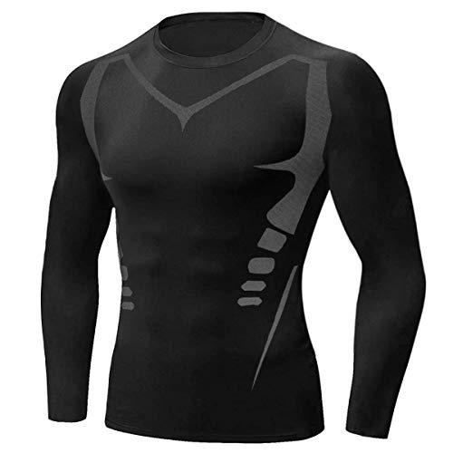 Sykooria Camiseta de Compresión Deportiva para Hombre Ropa Deportiva de Manga Larga Transpirable Secado Rápido Correr Gym Entrenamiento Ciclismo