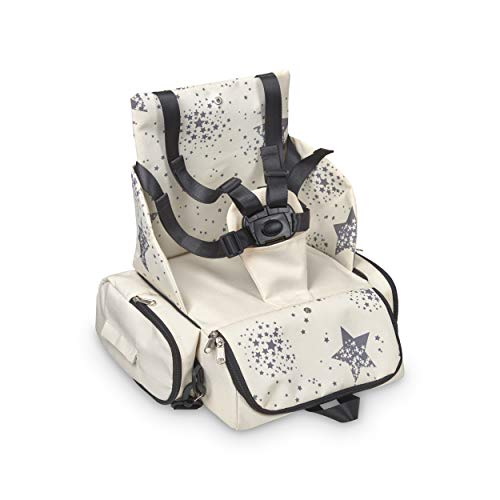Innovations MS 1334 – Booster Bag Stars – Portable Travel Highchair, Soft and Padded Baby Seat, Portable, Convertible to Backpack 2 in 1, Unisex, Beige
