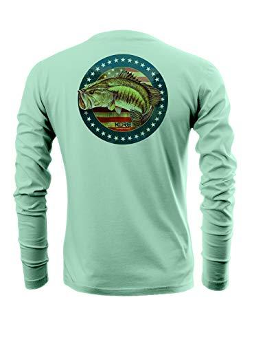 Kore Offshore Mens Long Sleeve UPF50+ Dri-All-Day Sunblock Fishing Shirt - Flag BASS (XL) Seafoam Green
