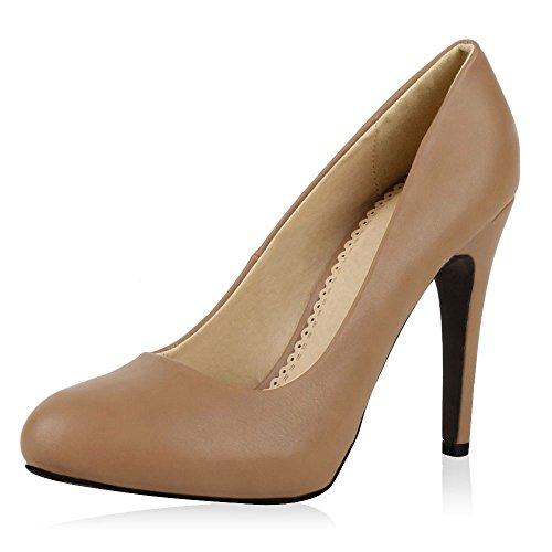 SCARPE VITA Elegante Damen Pumps High Heels Businessschuhe Leder-Optik 164078 Khaki 37