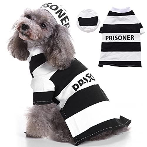 Prisoner Dog Costume Prison Pooch Dog Halloween Costumes, Halloween Costume for Small Medium Dogs, Pet Prisoner Costume with Hat for Halloween Christmas Birthday Party Photo Props Accessories