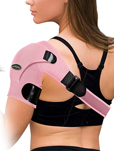 Doctor Developed Shoulder Support / Shoulder Strap / Shoulder Brace [Single] & Doctor Written Handbook - Relief for Shoulder Injuries, for both left & right (Pink)