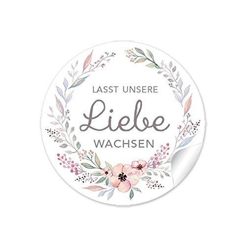 72 STICKER Lasst unsere Liebe wachsen PASTELLFARBEN mit Büten Für Gastgeschenke zur Hochzeit zum Verzieren für kleine Samentüten, niedliche Blumentöpfe und Reagenzgläser 4 cm, rund, matt
