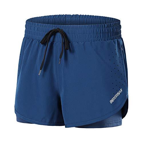 BERGRISAR Short de course 2 en 1 pour femme avec poche latérale zippée BG115 7,6 cm - bleu - Taille L
