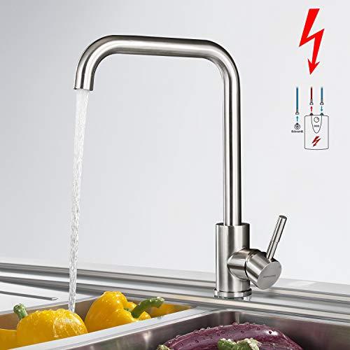 BONADE Niederdruck Küchenarmatur, 360° Drehbare Armatur Küche Wasserhahn für offene Boiler, Spültischarmatur aus Edelstahl, Mischbatterien mit 3 Anschlüssen, Niederdruckarmatur für Spüle