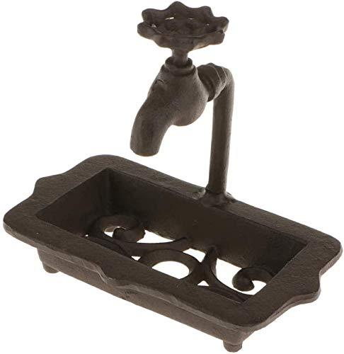 ACAMPTAR Zeep gerechten Badkamer Zeep Vaatwassers houden zeep droog Gietijzeren Bar Zeep Schotel Houder Doos voor Keuken Bad Sink Shabby Rustiek Decor