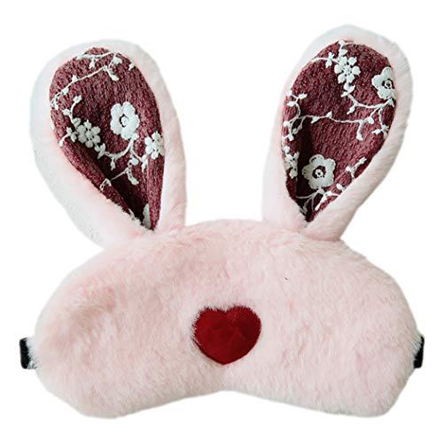 Slaapmasker pluche konijn oor draagbare slaapoog dekking oogschaduw met ijs Pack roze