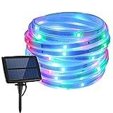 XXLYY Tira de luz LED Solar para Exteriores, 5M 150LED Tira de luz Flexible con 4 Modos para jardín, Patio, Camino, Fiesta, Navidad (Azul)