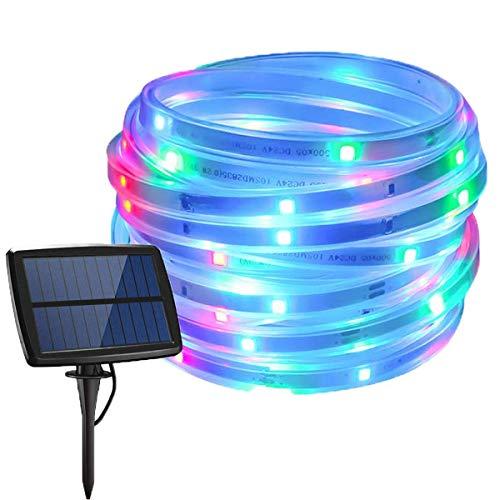 Tira de luz solar LED, tira de luz flexible 5M 150LED Tira de luz solar impermeable al aire libre con 4 modos para jardín Patio Patio Camino Fiesta Decoración navideña (Multicolor)