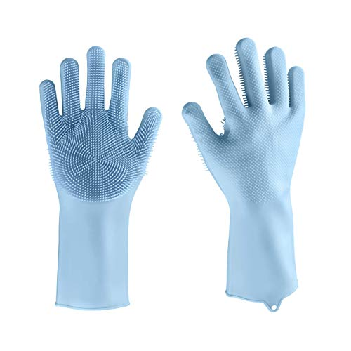 StarHandss Cleaning Dishwashing Gloves (Reusable Silicone), Pair of Rubber Scrubbing Gloves for Dishes, Wash Cleaning Gloves with Sponge Scrubbers for Washing Kitchen, Bathroom, Car & More (Blue)