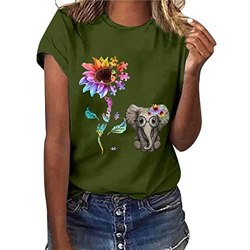 Camiseta de manga corta para mujer, diseño de girasol, estilo informal, básico, cuello redondo, para adolescentes, niñas, camisas, blusa, túnica, fitness, sudadera, color verde (B-verde,S)