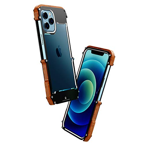 Kowauri Case for iPhone 12 Pro Max,Drop Protection Aluminum Metal Wood Bumper Frame Cover Shockproof Dropproof Protective Case for iPhone 12 Pro Max 6.7' 2020 (6.7 inch)