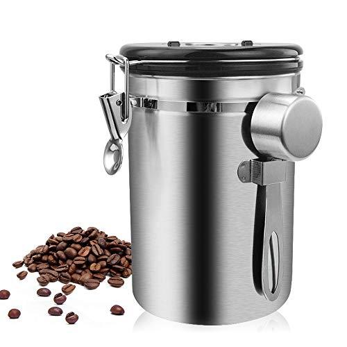 Lifemaison Koffieblik, luchtdicht, van roestvrij staal, met deksel met datumtracering