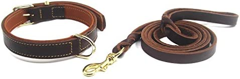 Genuine Leather Dog Collar and Leash Set for Medium and Large Dogs Heavy Duty Cowhide Dog Training product image