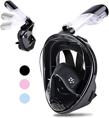 Beinhome Snorkel Mask Foldable Panoramic View Full Face Snorkeling Mask with Detachable Camera Mount, Dry Top Set Anti-Fog&Anti-Leak