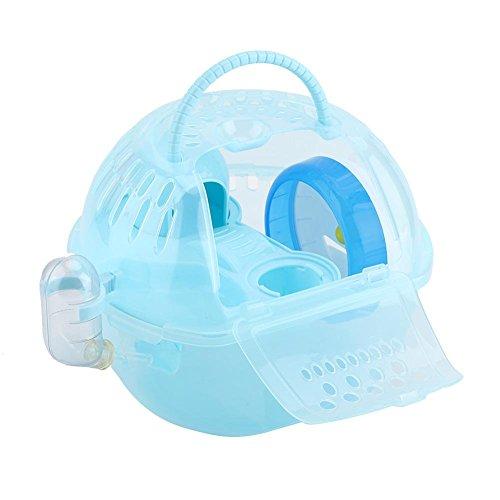 TMISHION Jaula de hámster, Deluxe Portable Mouse de plástico Transparente Casa Accesorios Completamente equipados Jaula de hábitat Hamster(Azul)