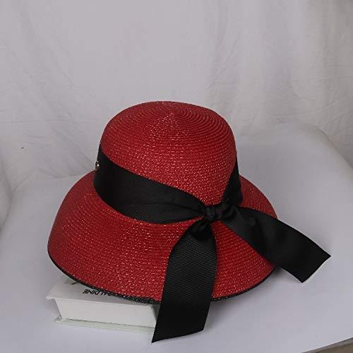 Sombrero de paja para playa, estilo retro, para verano, con ala grande, protección solar, viajes, vacaciones, ocio, sombrero de ala grande (color: color rojo vino, talla: M 56 58 cm)