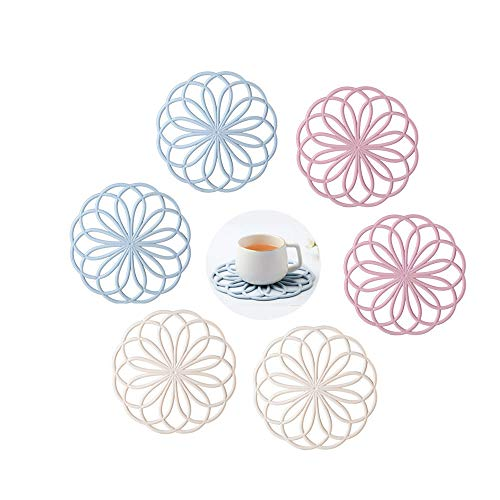 Köksdröm 6 st multifunktionella runda blommor trivettmattor av högsta kvalitet isolerade flexibla hållbara halkfria varma dynor för kopp skål skål skål kök servis (rosa, blå, beige)